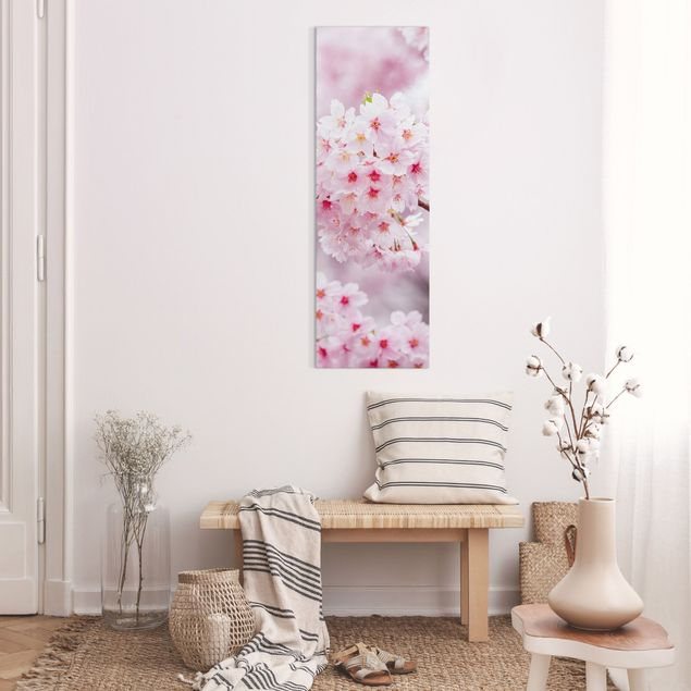 Leinwandbild - Japanische Kirschblüten - Panorama Hochformat 1:3