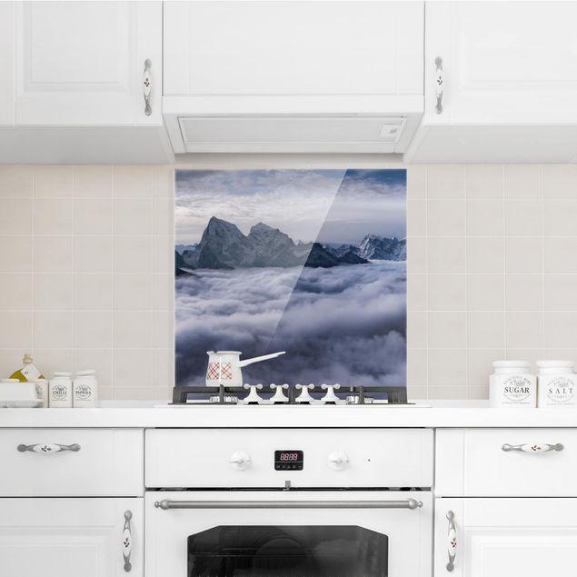 Glas Spritzschutz - Wolkenmeer im Himalaya - Quadrat - 1:1