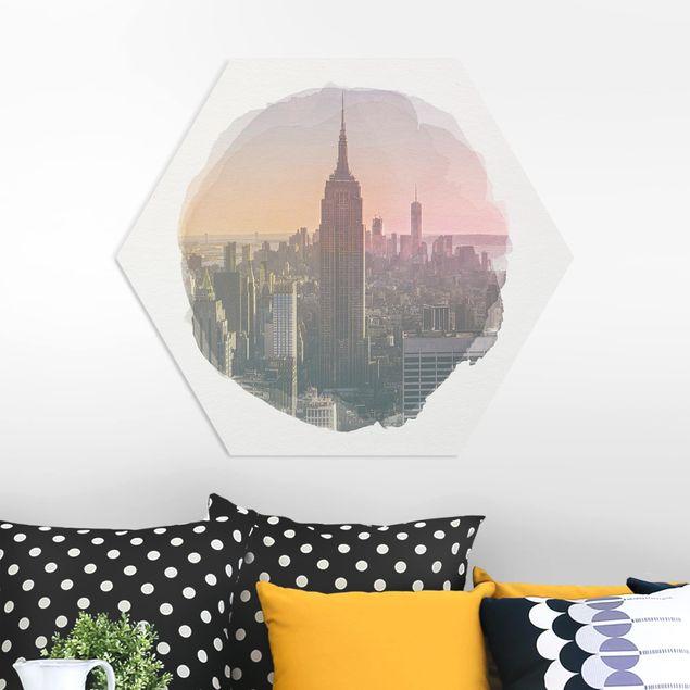 Hexagon Bild Forex - Wasserfarben - Blick vom Top of the Rocks