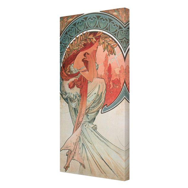 Leinwandbild - Alfons Mucha - Vier Künste - Die Poesie - Hochformat 2:1