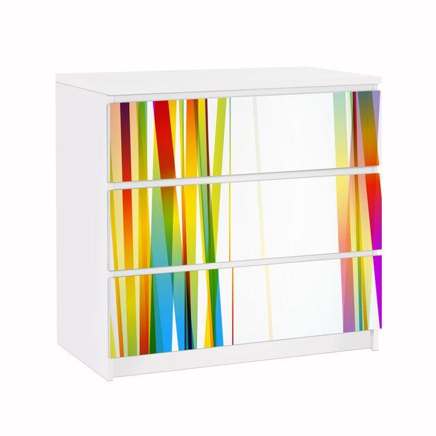 Möbelfolie für IKEA Malm Kommode - Klebefolie Rainbow stripes