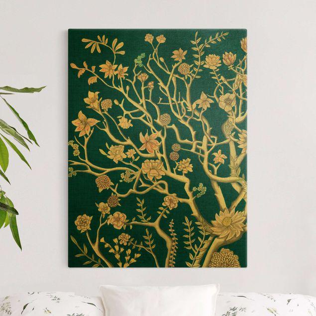 Leinwandbild Gold - Chinoiserie Blumen in der Nacht I - Hochformat 3:4
