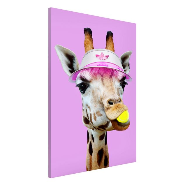 Magnettafel - Jonas Loose - Giraffe beim Tennis - Memoboard Hochformat 3:2