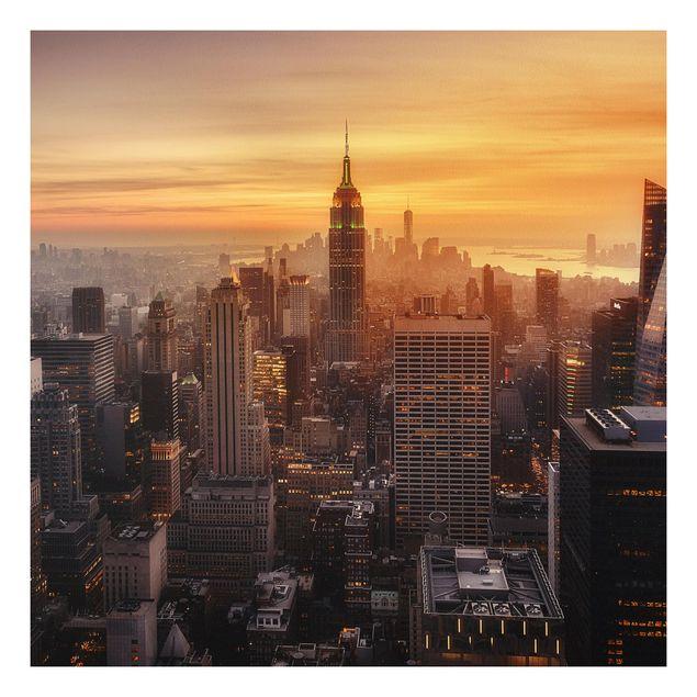 Forex Fine Art Print - Manhattan Skyline Abendstimmung - Quadrat 1:1