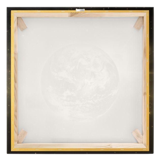 Leinwandbild Gold - Weltall II - Quadrat 1:1