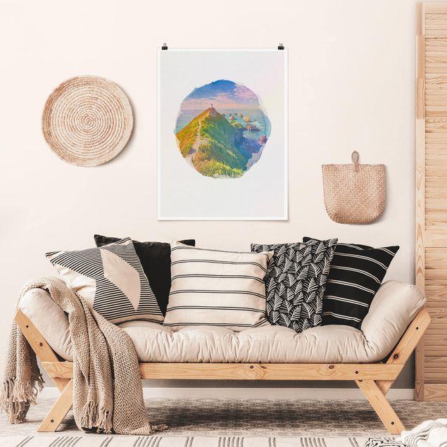 Poster - Wasserfarben - Nugget Point Leuchtturm und Meer Neuseeland - Hochformat 4:3