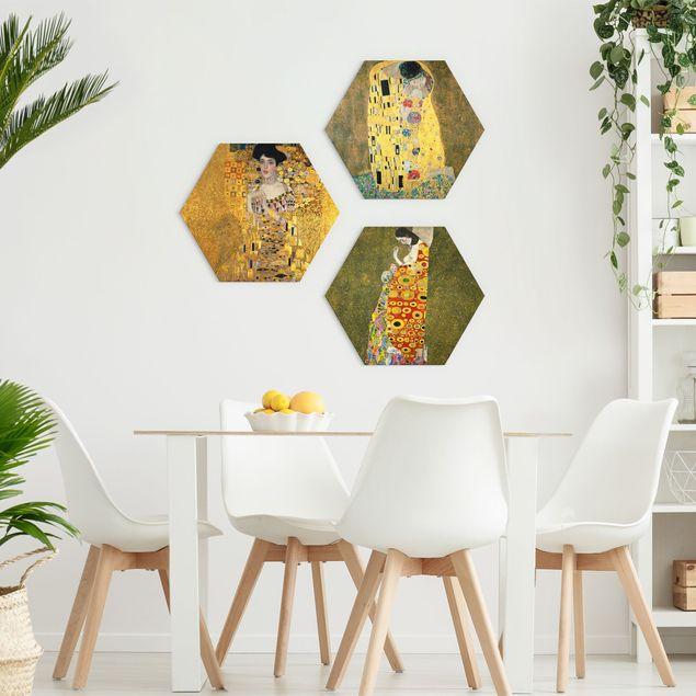 Hexagon Bild Alu-Dibond 3-teilig - Gustav Klimt - Portraits