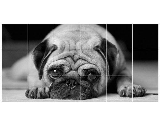 Fliesenbild - Pug Loves You II