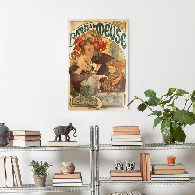 Glasbild - Alfons Mucha - Plakat für La Meuse Bier - Hochformat 3:2