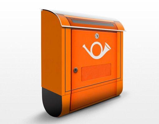 Briefkasten mit Posthorn - Briefkasten in Europa - mit Zeitungsfach