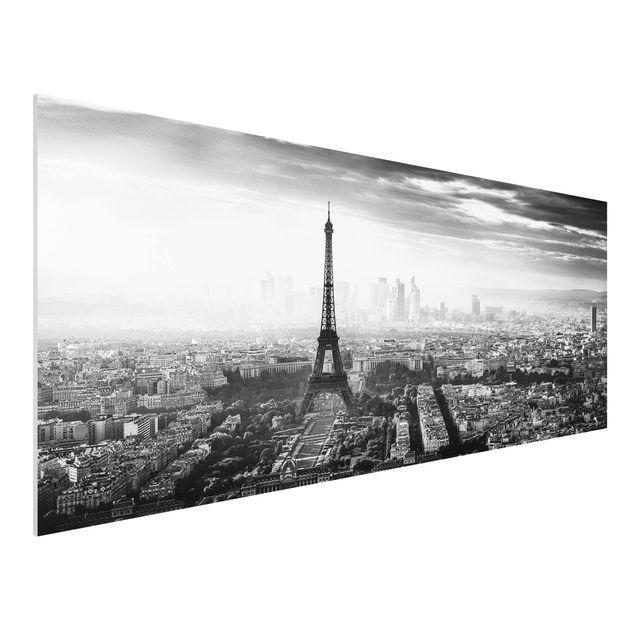 Forex Fine Art Print - Der Eiffelturm von Oben Schwarz-weiß - Panorama