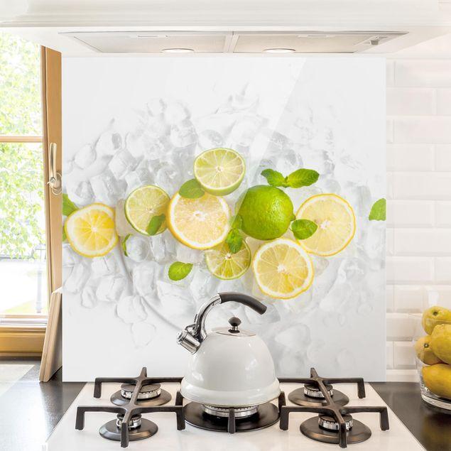 Glas Spritzschutz - Zitrusfrüchte auf Eiswürfel - Quadrat - 1:1