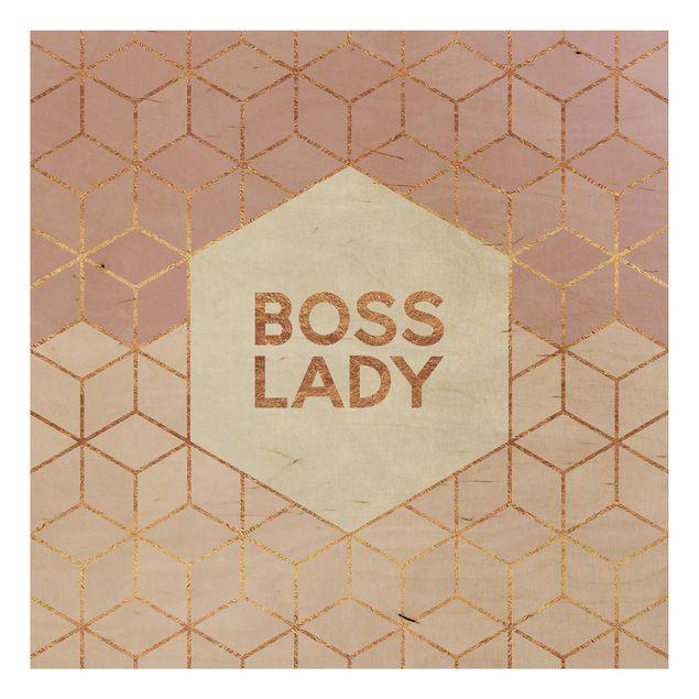 Holzbild - Boss Lady Sechsecke Rosa - Quadrat 1:1