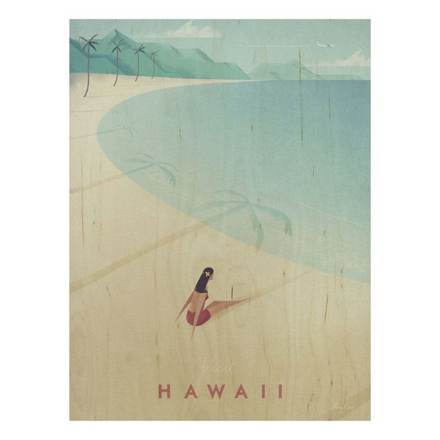 Holzbild - Reiseposter - Hawaii - Hochformat 4:3