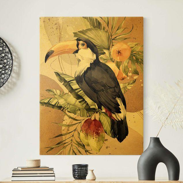 Leinwandbild Gold - Tropische Vögel - Tukan - Hochformat 3:4