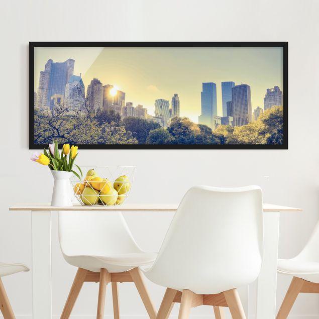 Bild mit Rahmen - Peaceful Central Park - Panorama Querformat