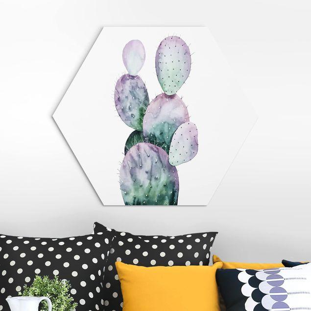 Hexagon Bild Alu-Dibond - Kaktus in Lila II