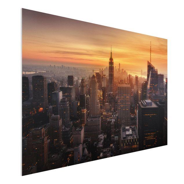 Forex Fine Art Print - Manhattan Skyline Abendstimmung - Querformat 2:3
