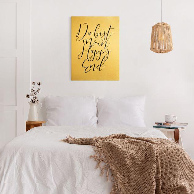 Leinwandbild Gold - Du bist mein Happy End - Hochformat 3:4