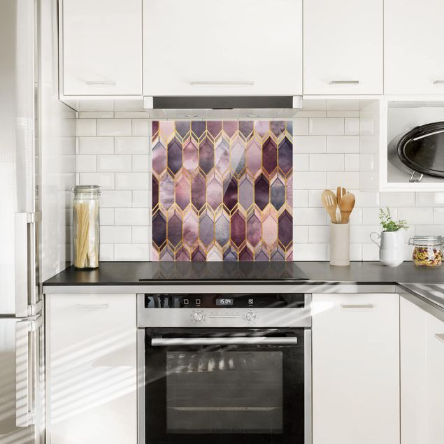 Glas Spritzschutz - Glasmalerei geometrisch Rosé Gold - Quadrat - 1:1