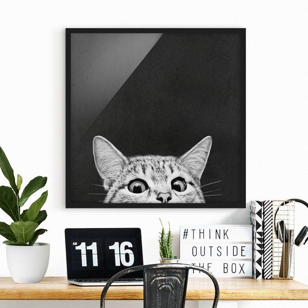 Bild mit Rahmen - Illustration Katze Schwarz Weiß Zeichnung - Quadrat 1:1