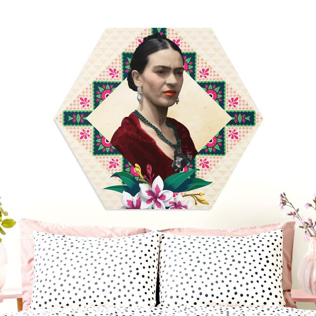Hexagon Bild Forex - Frida Kahlo - Blumen und Geometrie