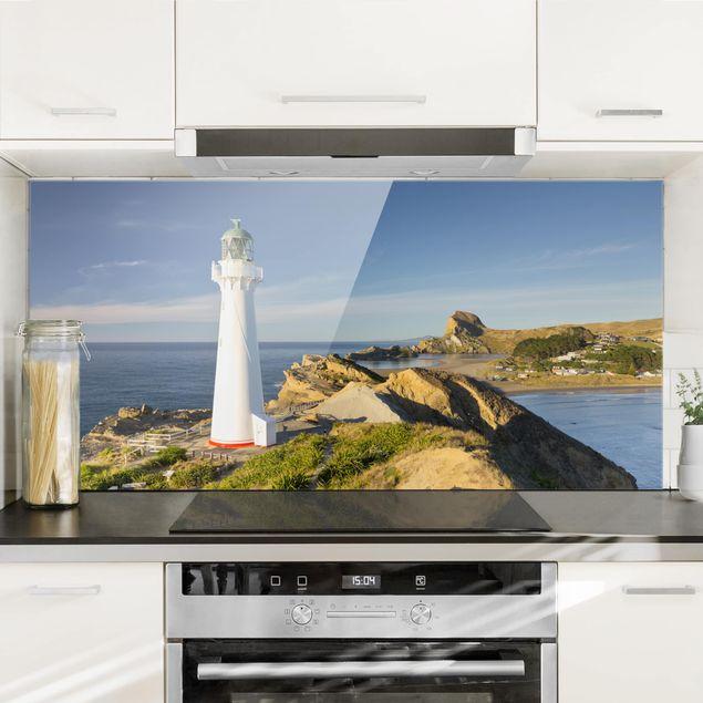 Spritzschutz Glas - Castle Point Leuchtturm Neuseeland - Querformat - 2:1