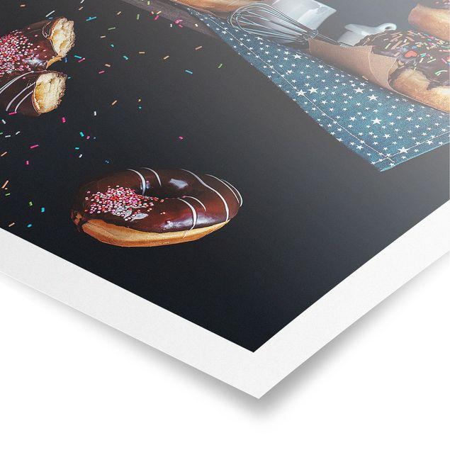 Poster - Donuts vom Küchenregal - Quadrat 1:1