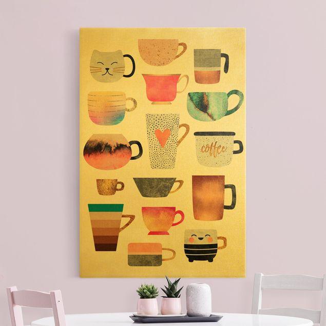 Leinwandbild Gold - Bunte Tassen mit Gold - Hochformat 2:3