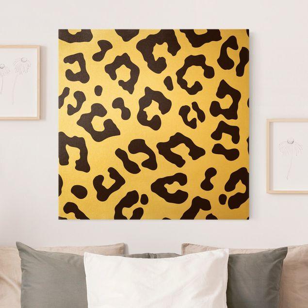 Leinwandbild Gold - Leoparden Print - Quadrat 1:1