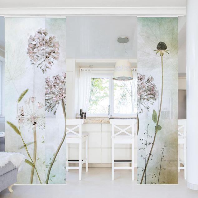 Schiebegardinen Set - Lauchblüten in Pastell - Flächenvorhang
