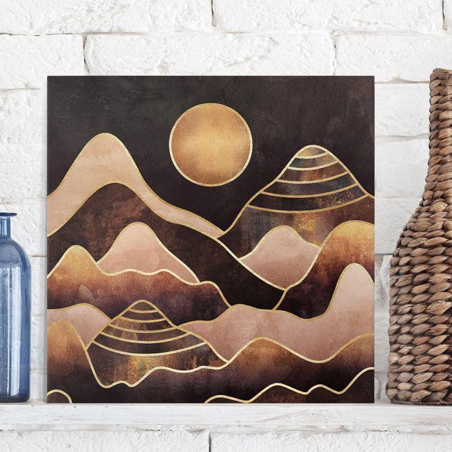 Leinwandbild - Goldene Sonne abstrakte Berge - Quadrat 1:1