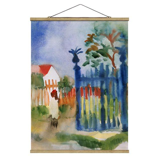 Stoffbild mit Posterleisten - August Macke - Gartentor - Hochformat 3:4