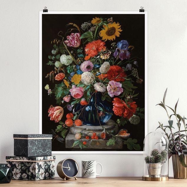 Poster - Jan Davidsz de Heem - Glasvase mit Blumen - Hochformat 3:4