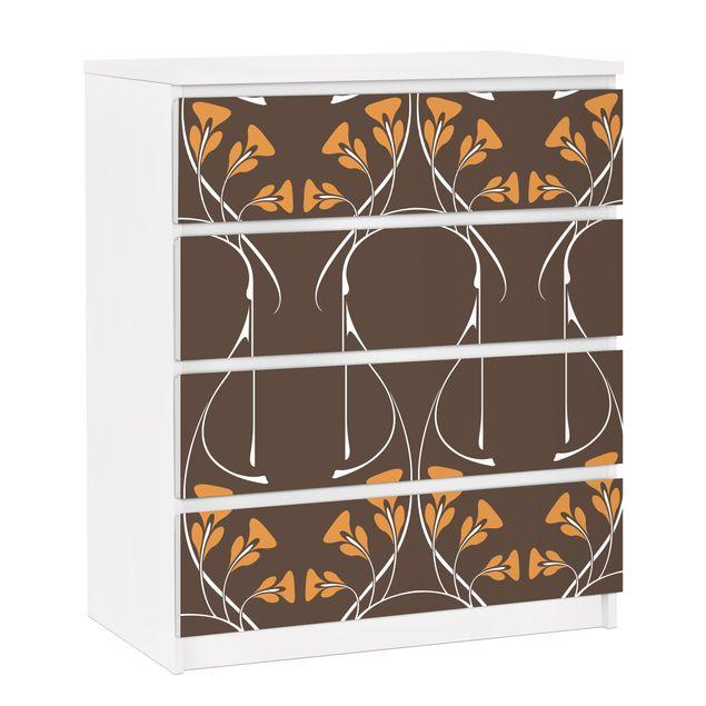 Möbelfolie für IKEA Malm Kommode - selbstklebende Folie Verschlungene Herbstblätter