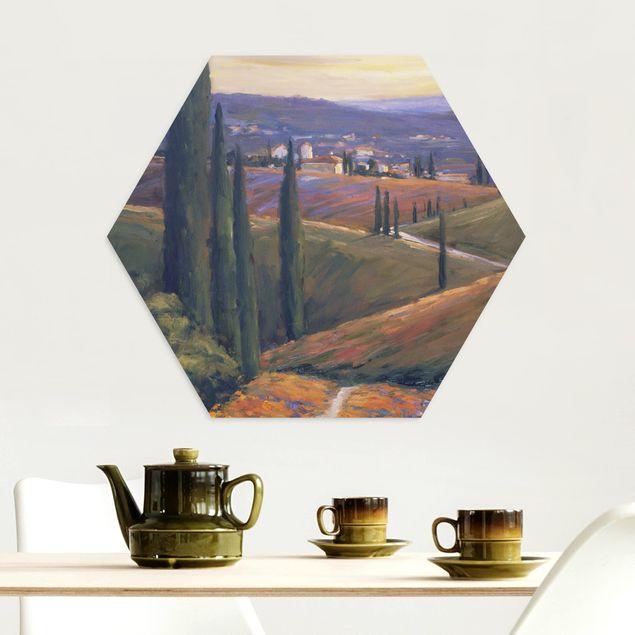 Hexagon Bild Alu-Dibond - Landschaft am Nachmittag I