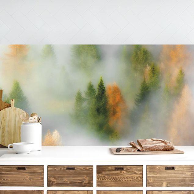 Küchenrückwand - Nebelwald im Herbst