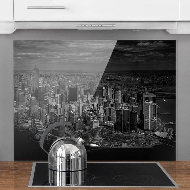 Glas Spritzschutz - New York - Manhattan aus der Luft - Querformat - 4:3
