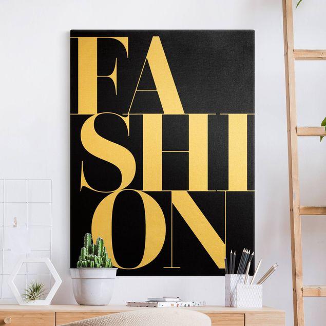 Leinwandbild Gold - FASHION Schwarz - Hochformat 3:4