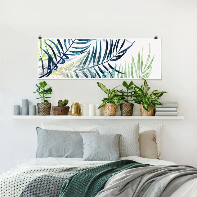 Poster - Exotisches Blattwerk - Palme - Panorama Querformat