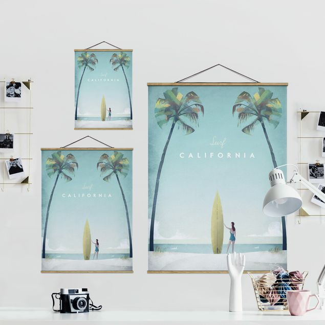 Stoffbild mit Posterleisten - Reiseposter - California - Hochformat 3:4