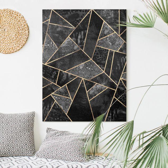 Leinwandbild - Graue Dreiecke Gold - Hochformat 4:3