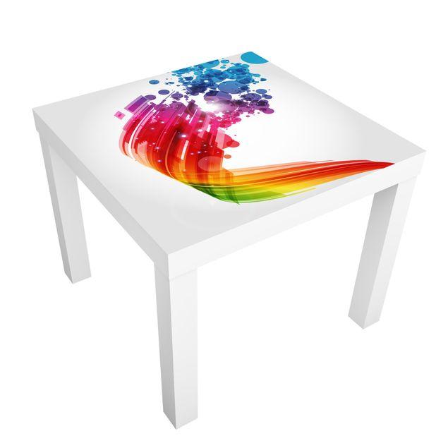 Möbelfolie für IKEA Lack - Klebefolie Rainbow Wave and Bubbles