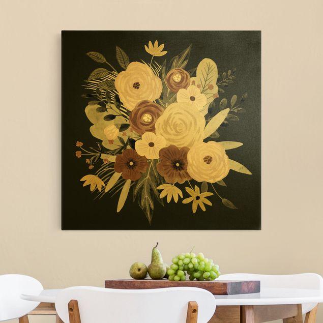 Leinwandbild Gold - Pastell Blumenbouquet vor Grün II - Quadrat 1:1