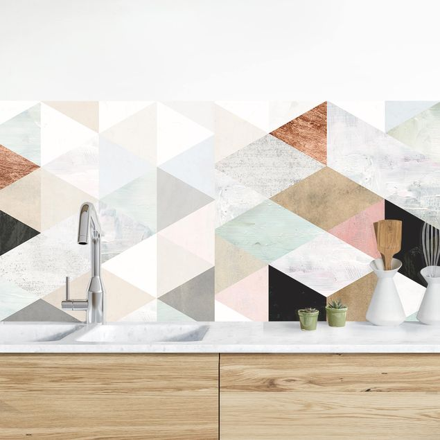 Küchenrückwand - Aquarell-Mosaik mit Dreiecken I