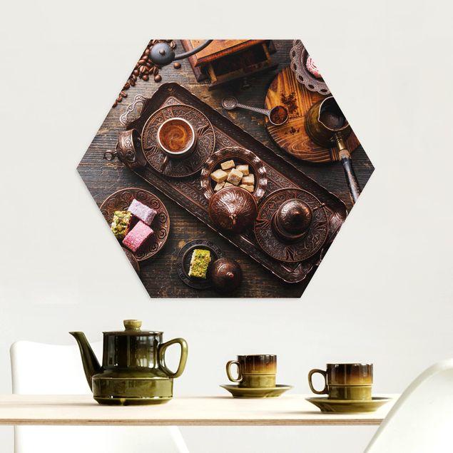 Hexagon Bild Alu-Dibond - Türkischer Kaffee
