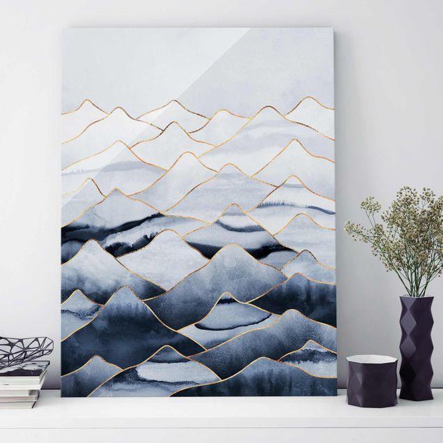 Glasbild - Aquarell Berge Weiß Gold - Hochformat 4:3