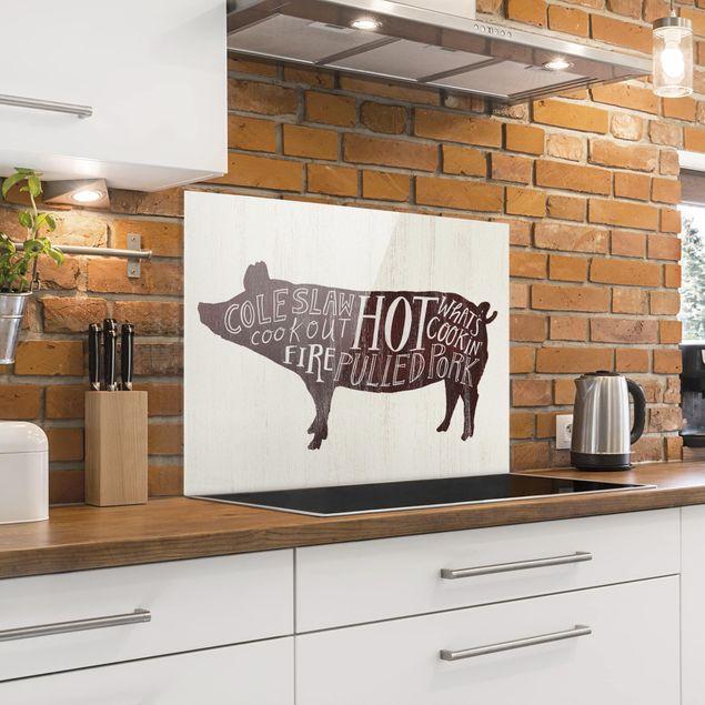 Glas Spritzschutz - Bauernhof BBQ - Schwein - Querformat - 4:3