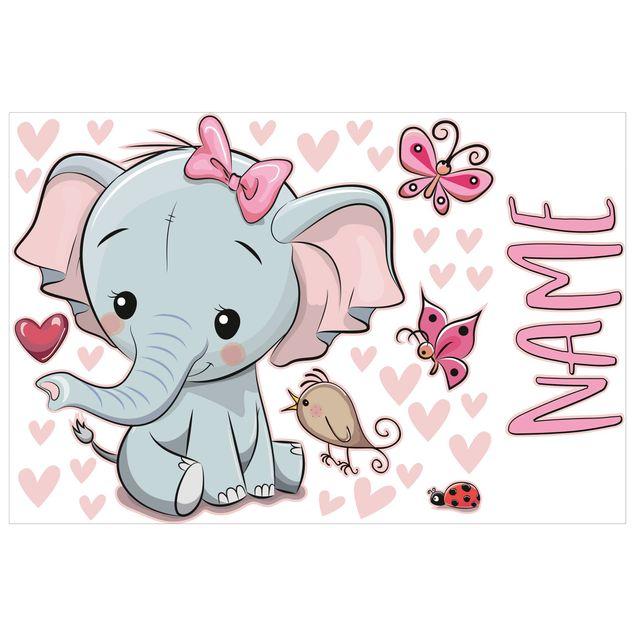 Wandtattoo mit Wunschtext - Elefant mit Wunschname