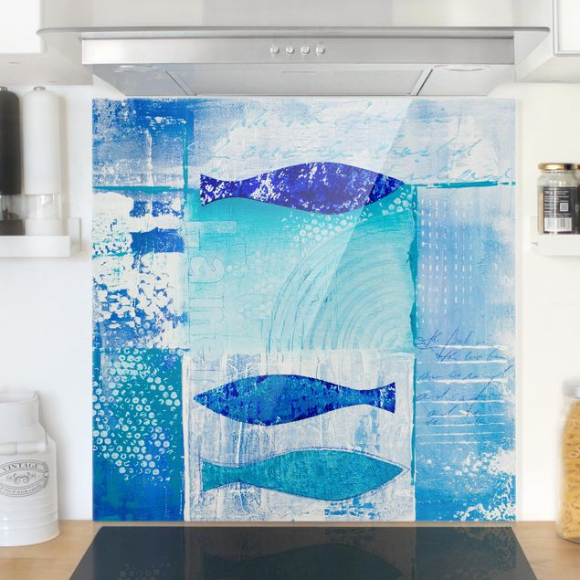 Glas Spritzschutz - Fish in the blue - Quadrat - 1:1